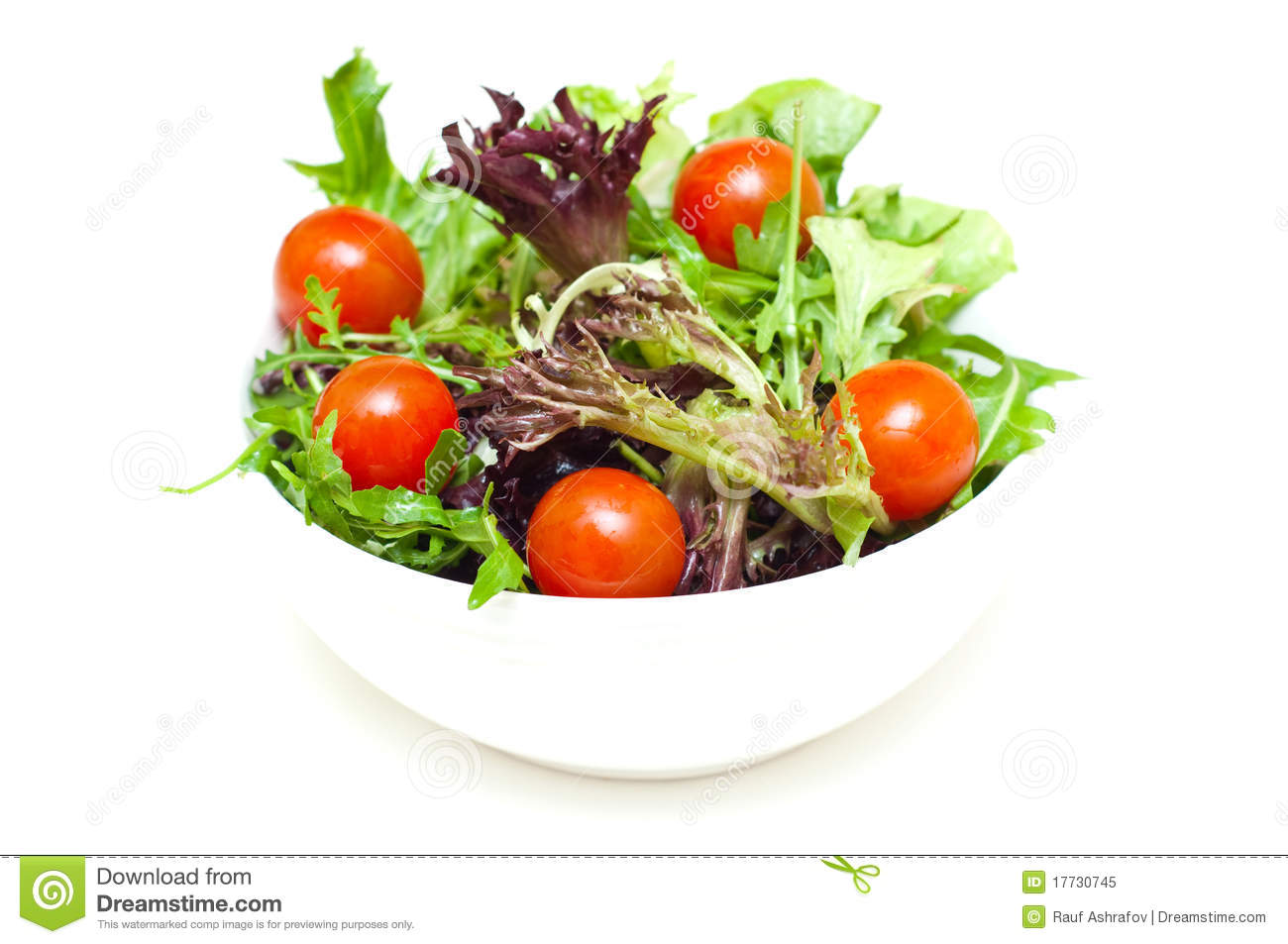Salad In A Bowl On White Royalty Free Stock Photo - Image: 17730745