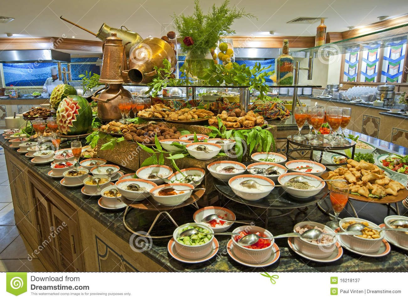 Salad buffet in a luxury hotel restaurant stock image for Buffet cuisine