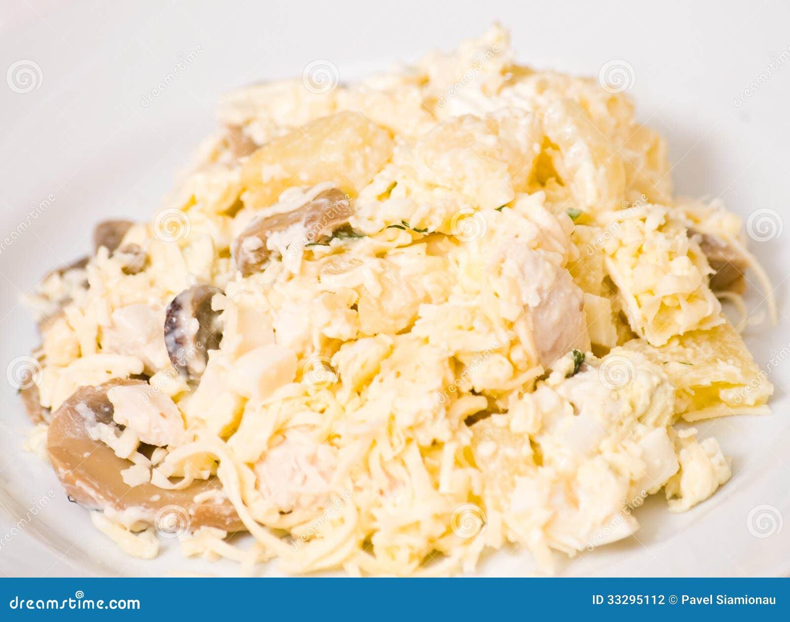 Салат курица грибы ананас сыр яйца