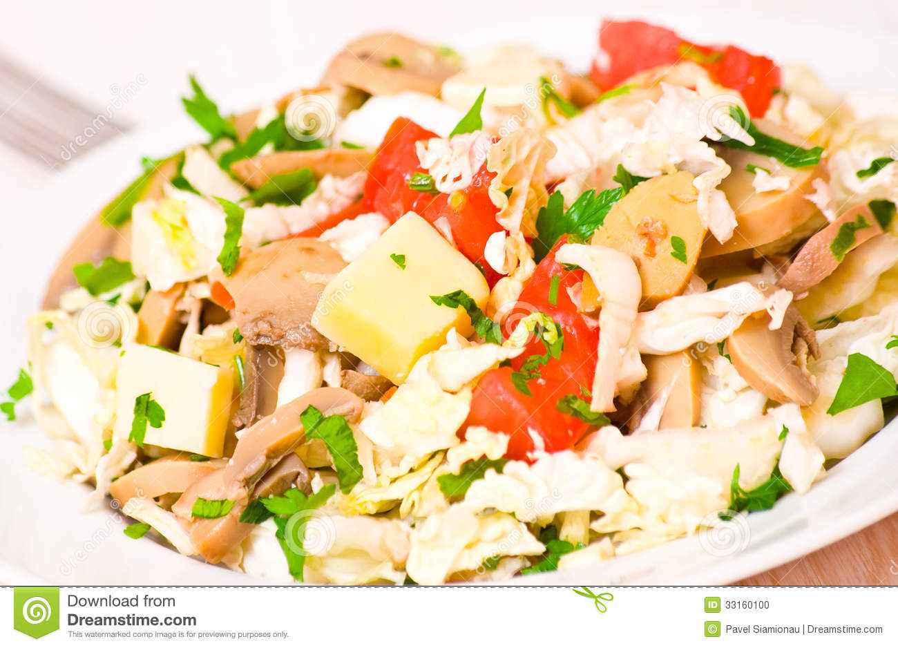 Stock Photo: Salad with chicken, mushrooms, cheese and vegetables