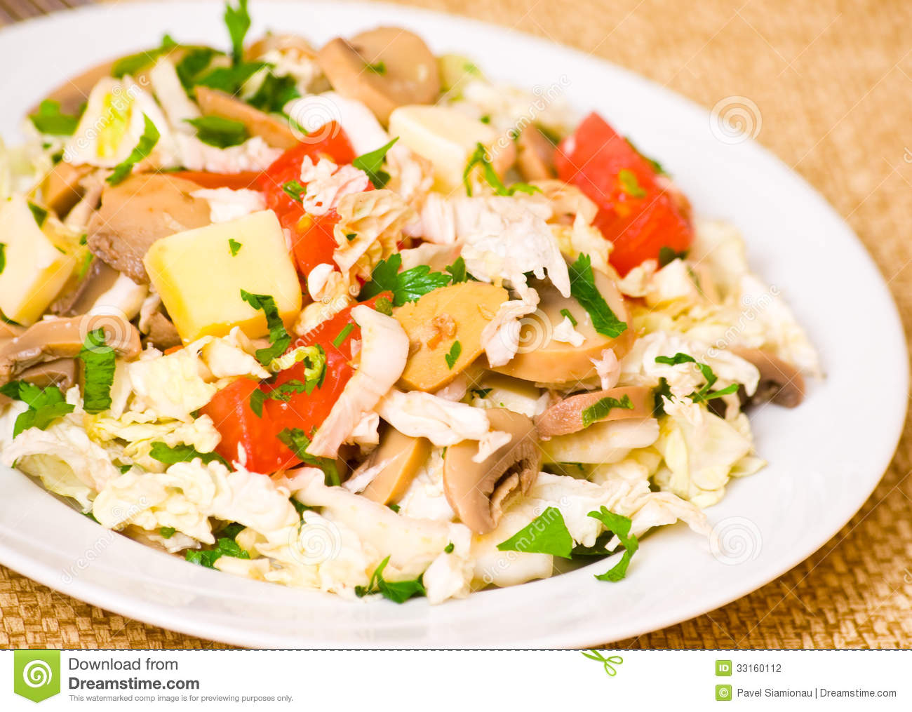 ... Photography: Salad with chicken, mushrooms, cheese and vegetables