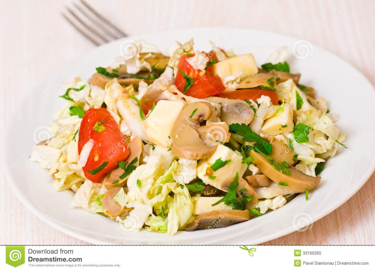 ... Free Stock Photo: Salad with chicken, mushrooms, cheese and vegetables