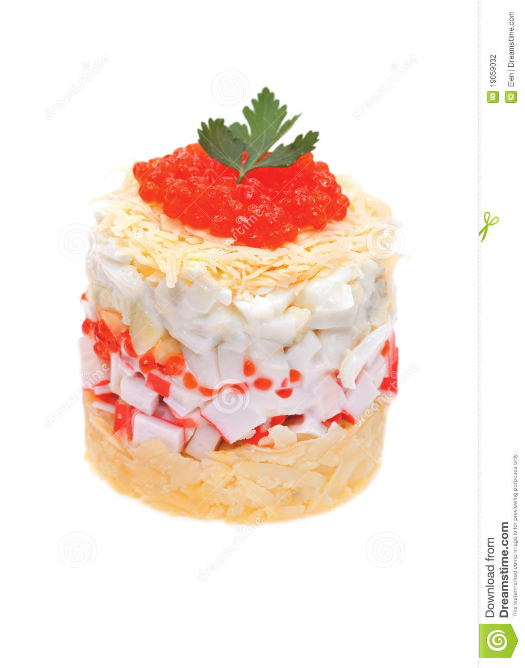 Download Salad Of Crabs With Red Caviar Stock Photo - Image of light, flavor: 19059032