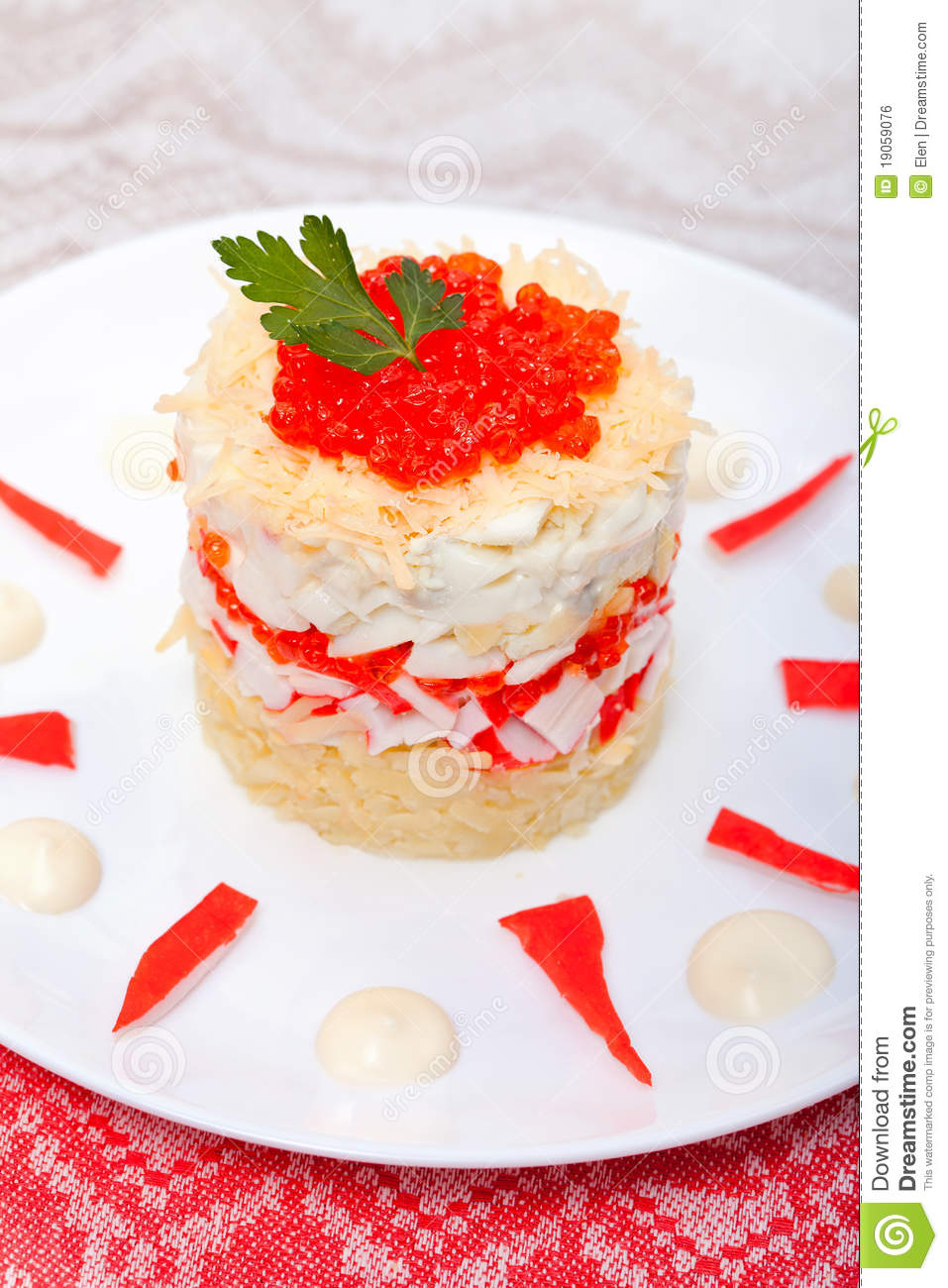 Download Salad Of Crabs With Red Caviar Stock Photo - Image of decorate, kitchen: 19059076