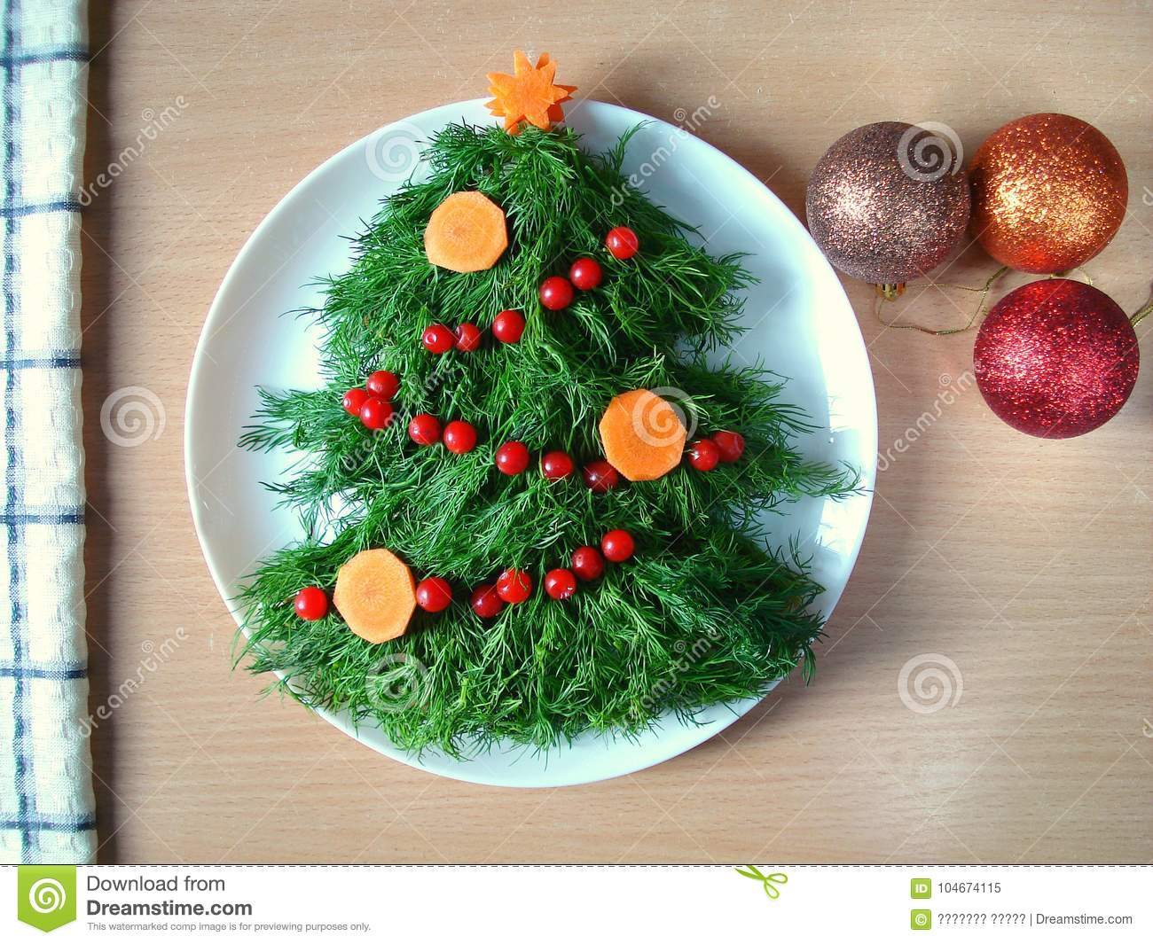 Salad Decoration For The New Year Salad In The Form Of A Christmas