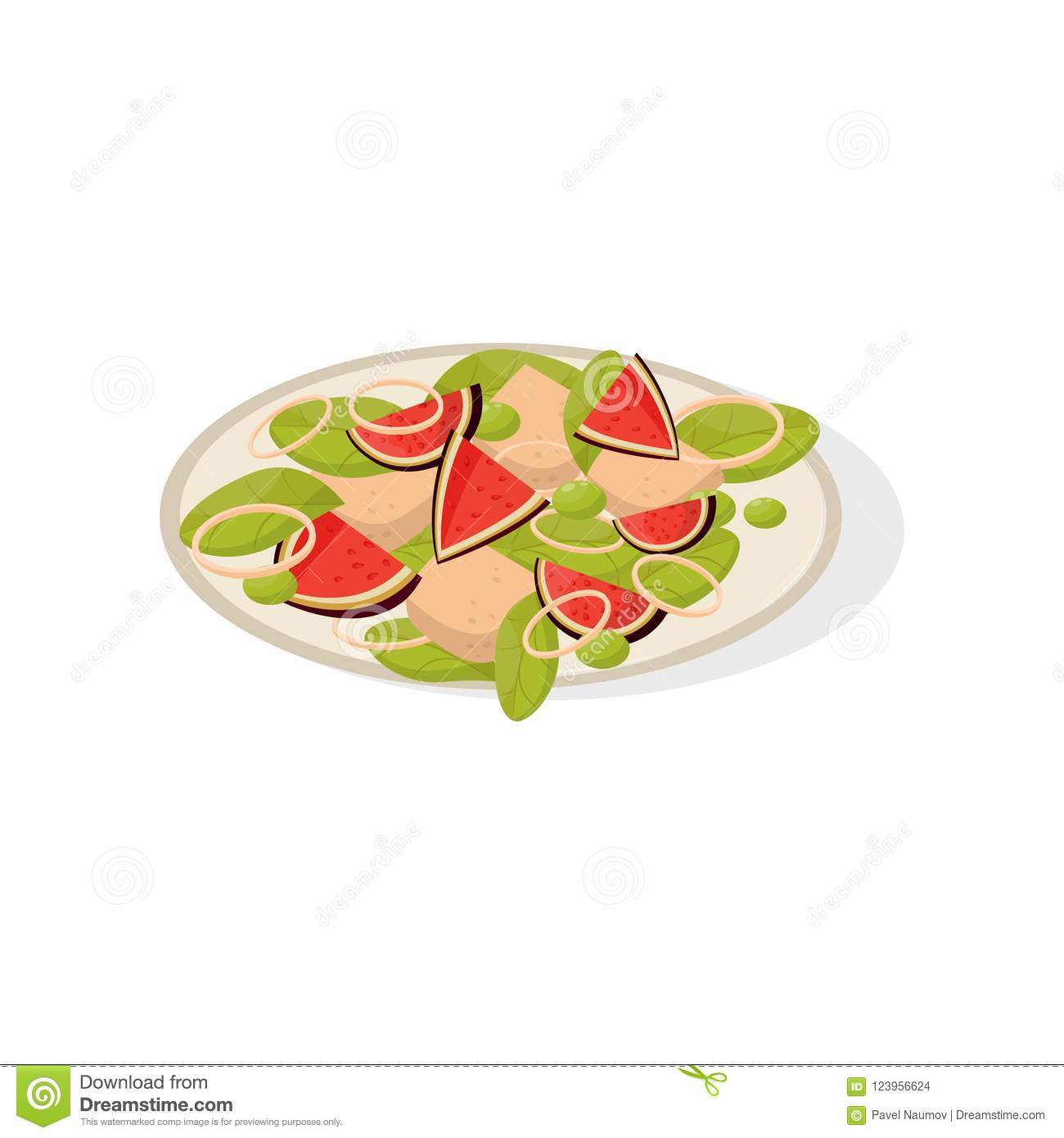 Salad with fig fruits on a plate vector Illustration on a white background