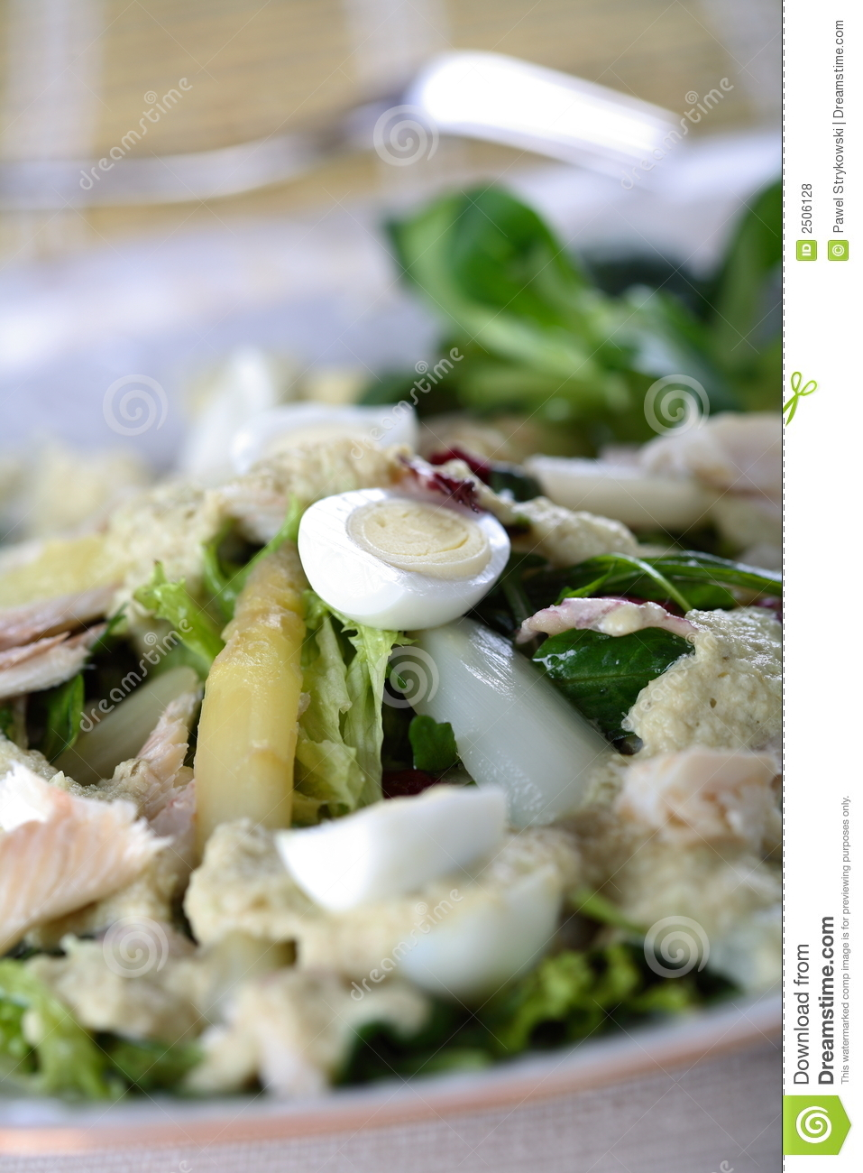 Salad with fish and asparagus royalty free stock photos for Fish and asparagus