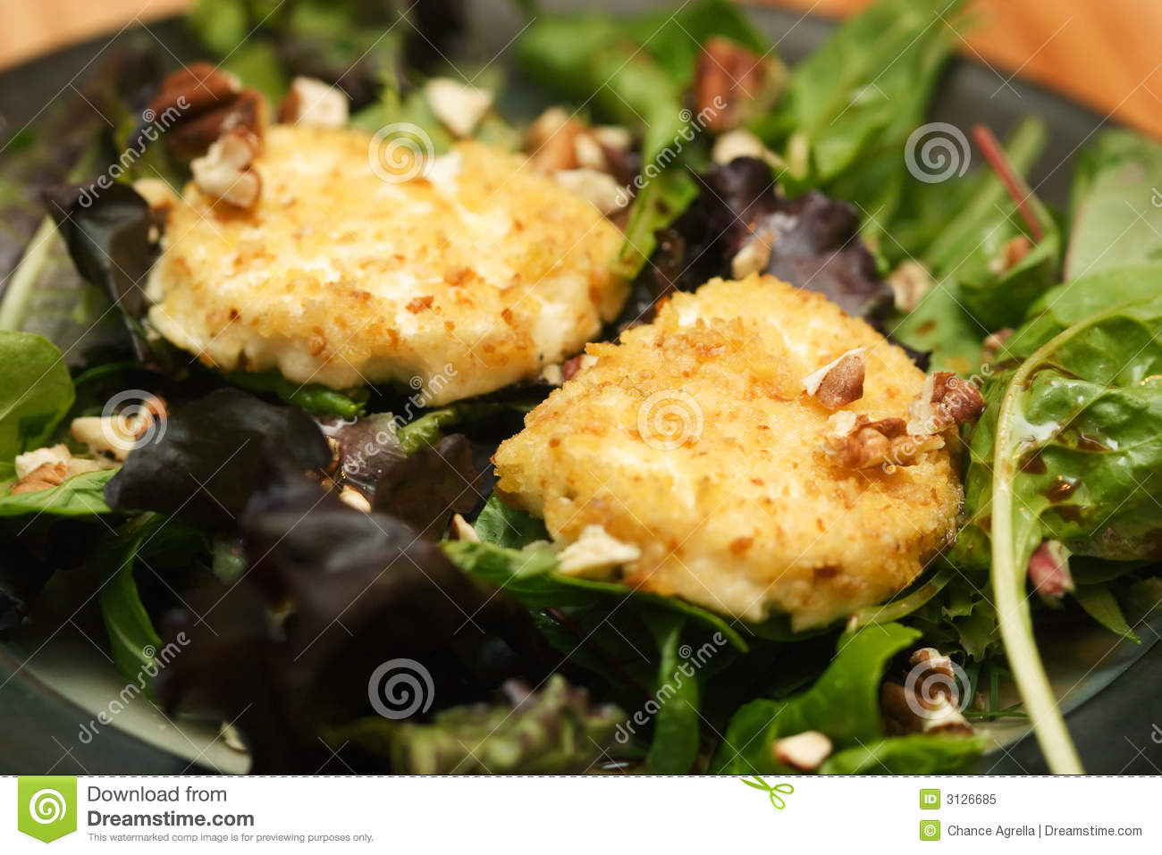 Salad With Fried Goat Cheese Royalty Free Stock Photo - Image: 3126685