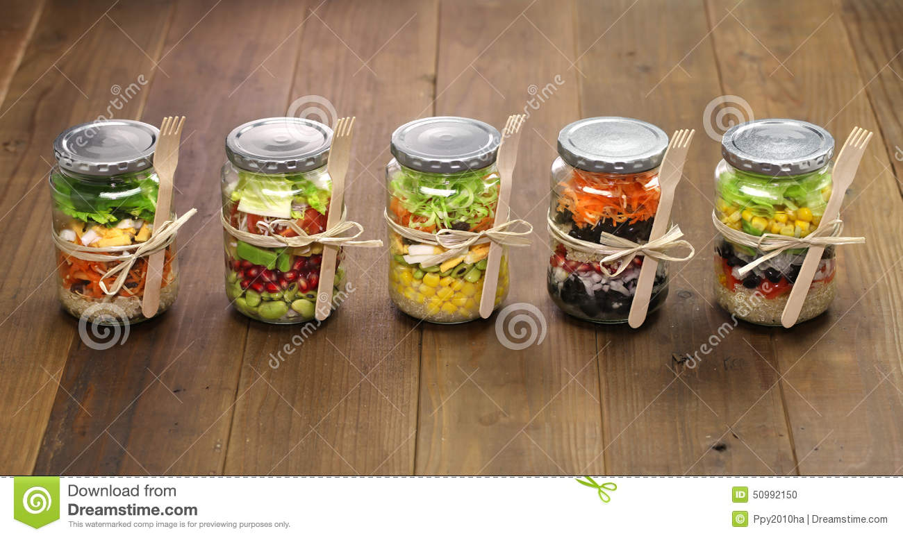 Salad in glass jar