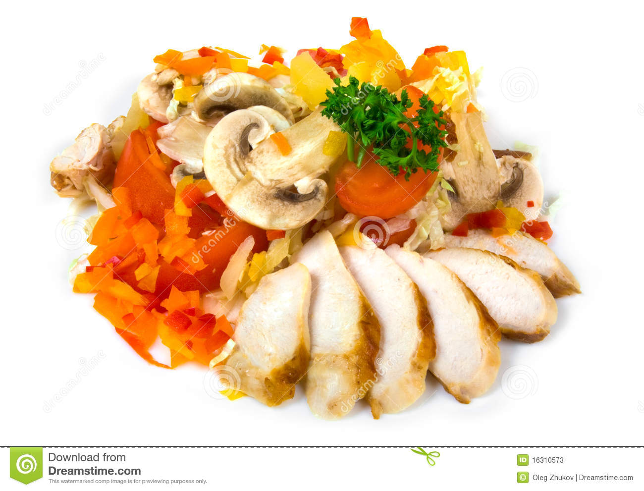 Salad with ham and mushrooms isolated on white background.