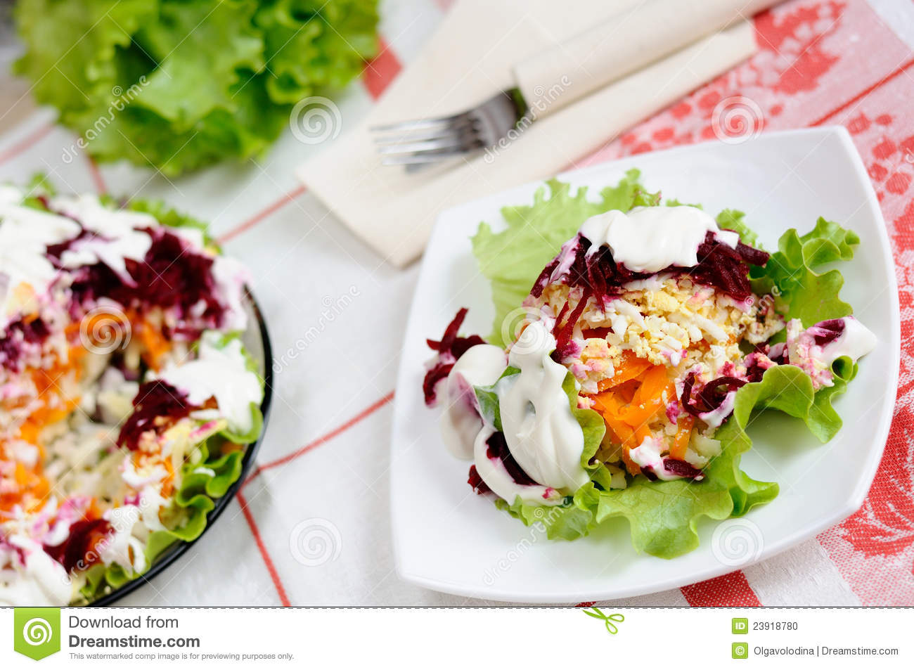 Stock Photo: Salad with herring and vegetables