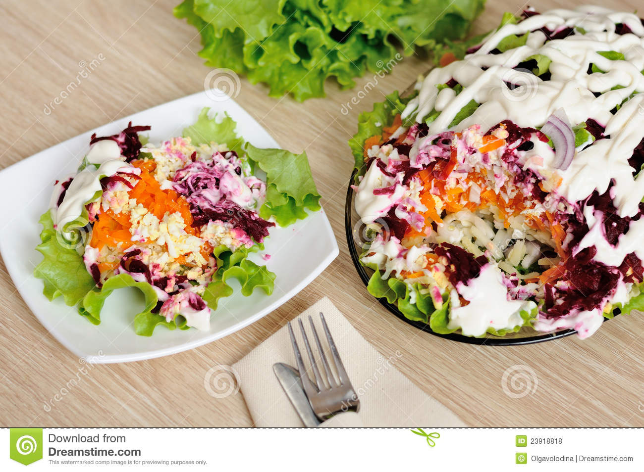 Royalty Free Stock Photos: Salad with herring and vegetables