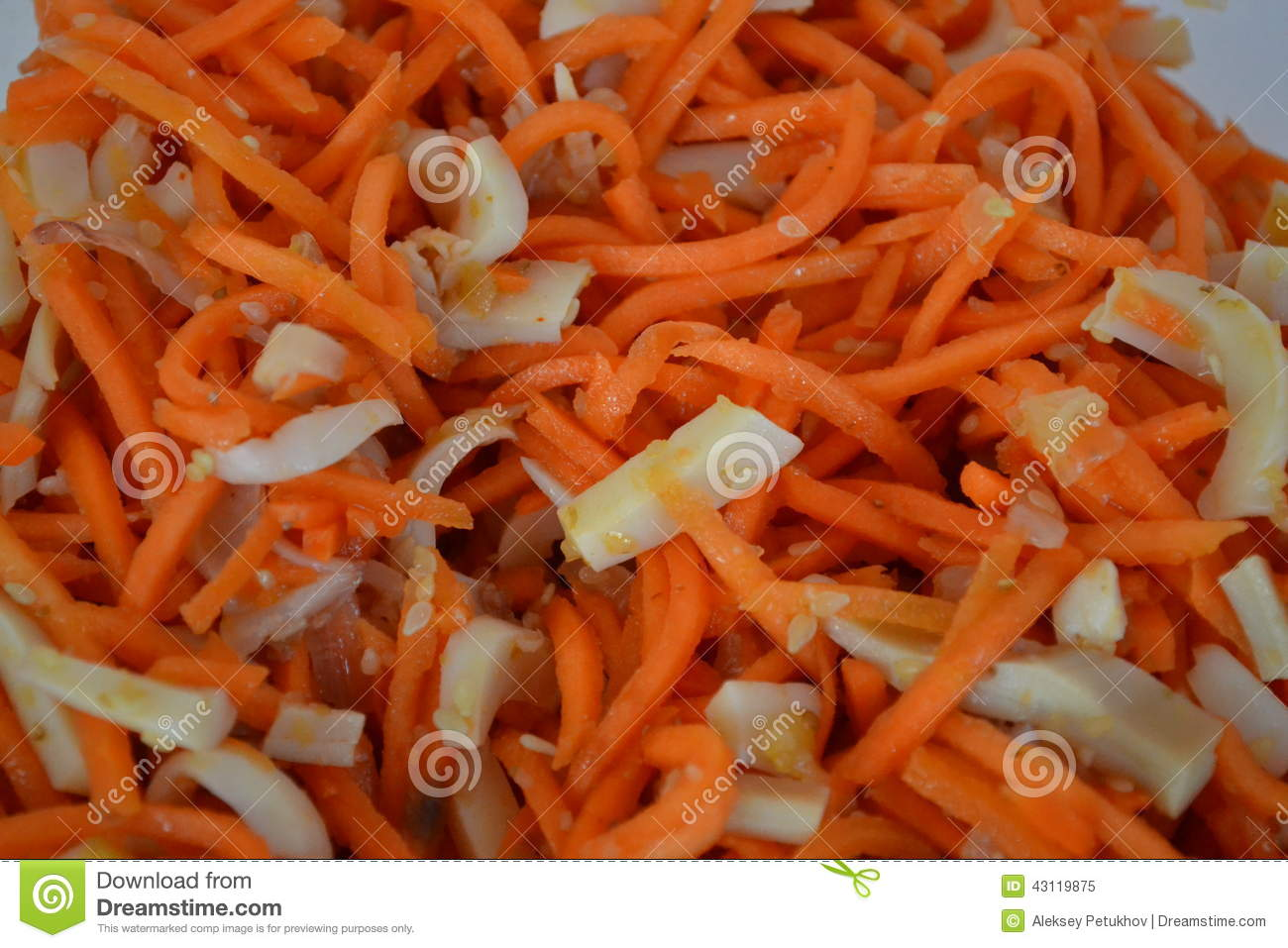 Salad Recipes with Squid and Korean Carrots 1