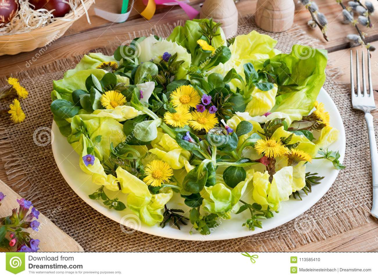 Salad with lettuce and wild edible plants