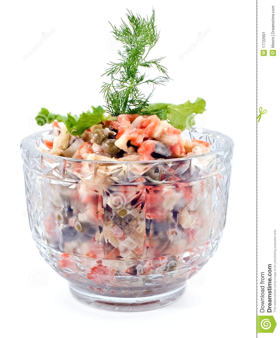 Salad with liver meat, carrot, peas and potato isolated on white.