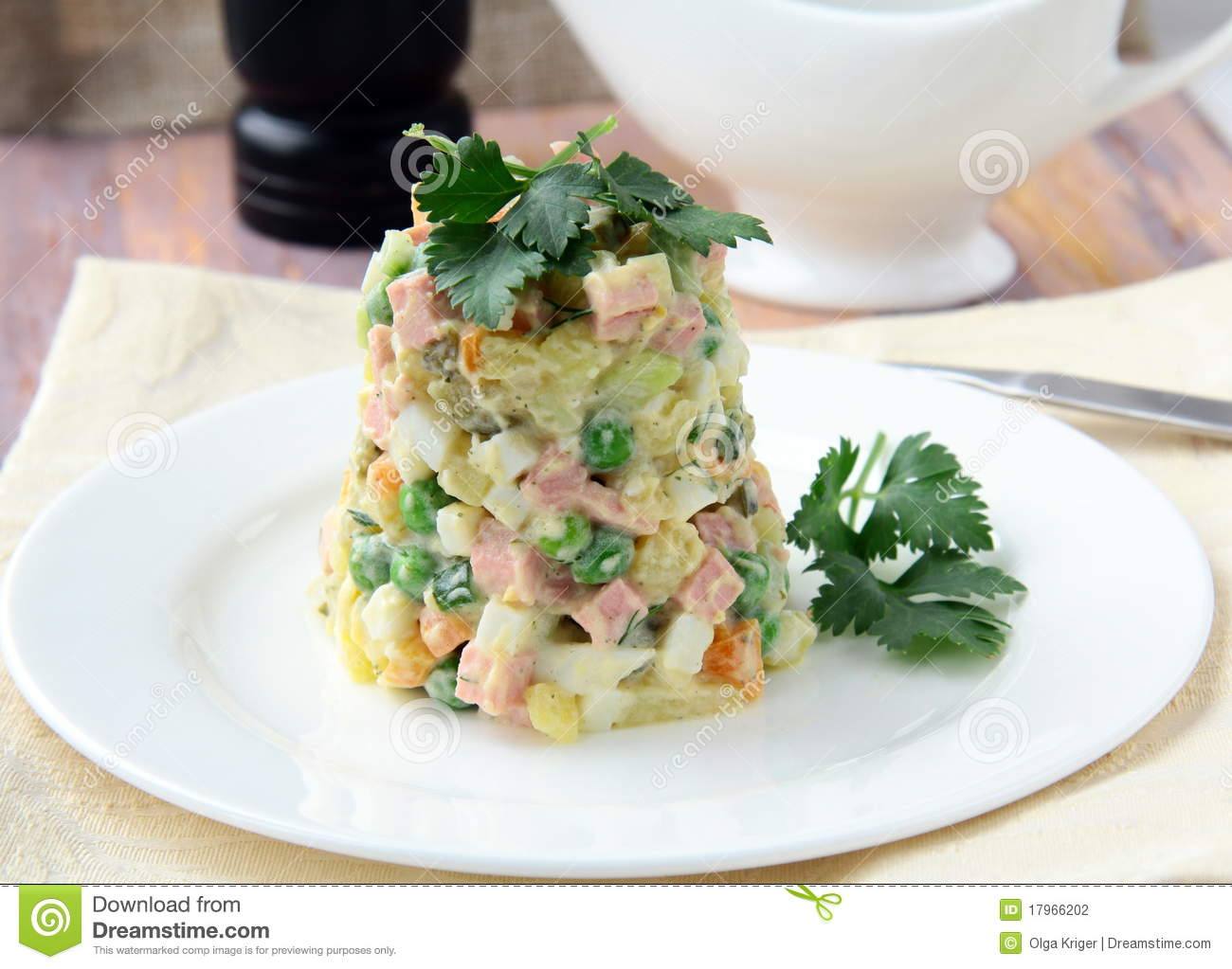 Stock Photography: Salad with mayonnaise and vegetables and meat