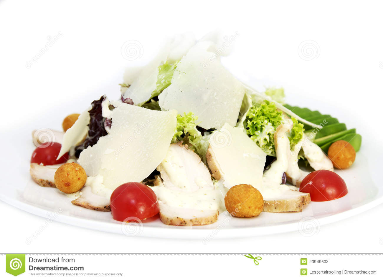 Salad with meat and cheese