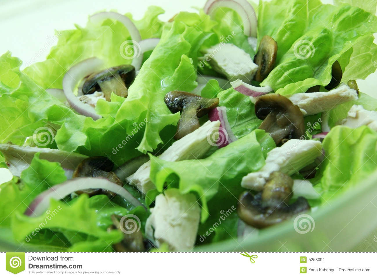 Stock Images: Salad with mushrooms and chicken.