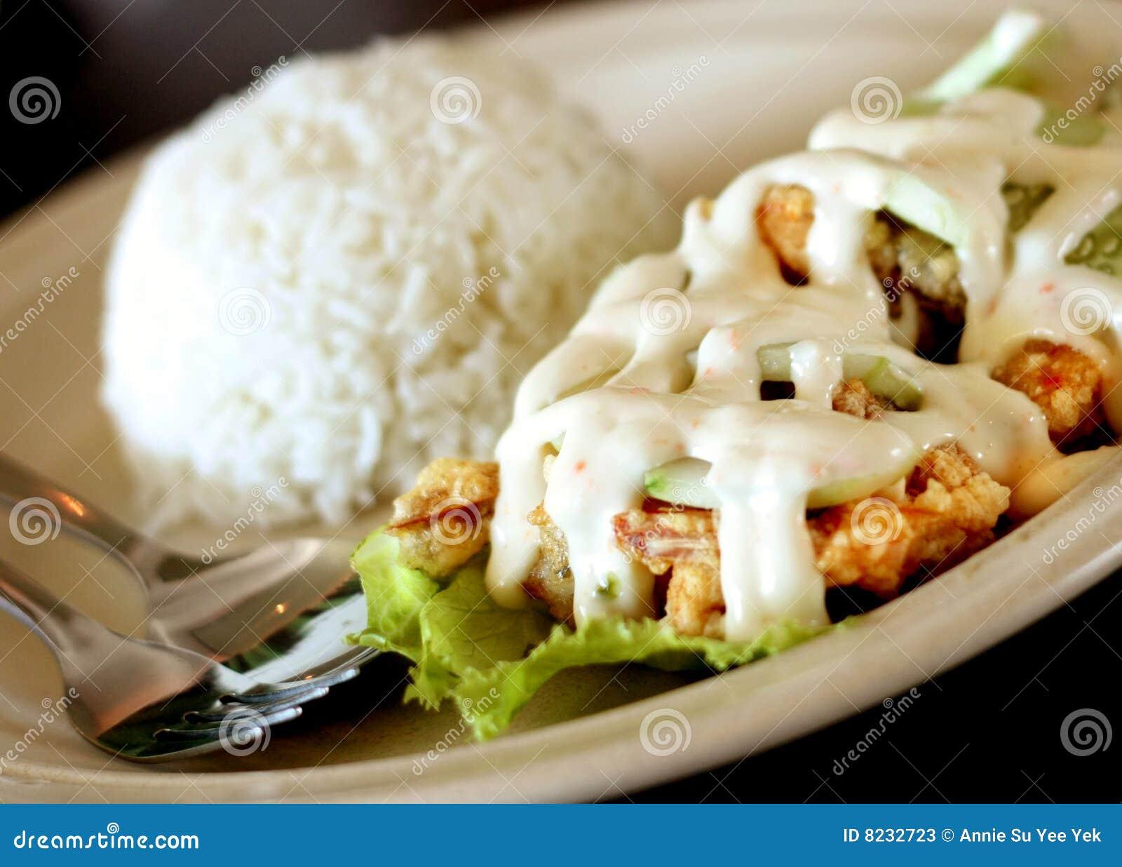 Salad prawn rice
