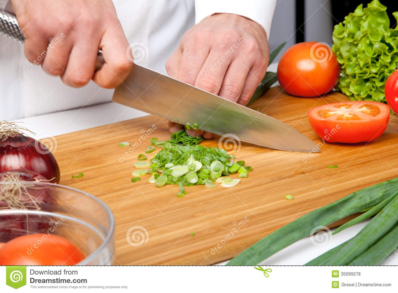 Salad Preparation Stock Photo Image Of Spring Knives