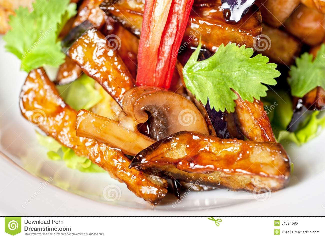 Salad from roasted eggplants, mushrooms, soy sauce, oyster sauce ...