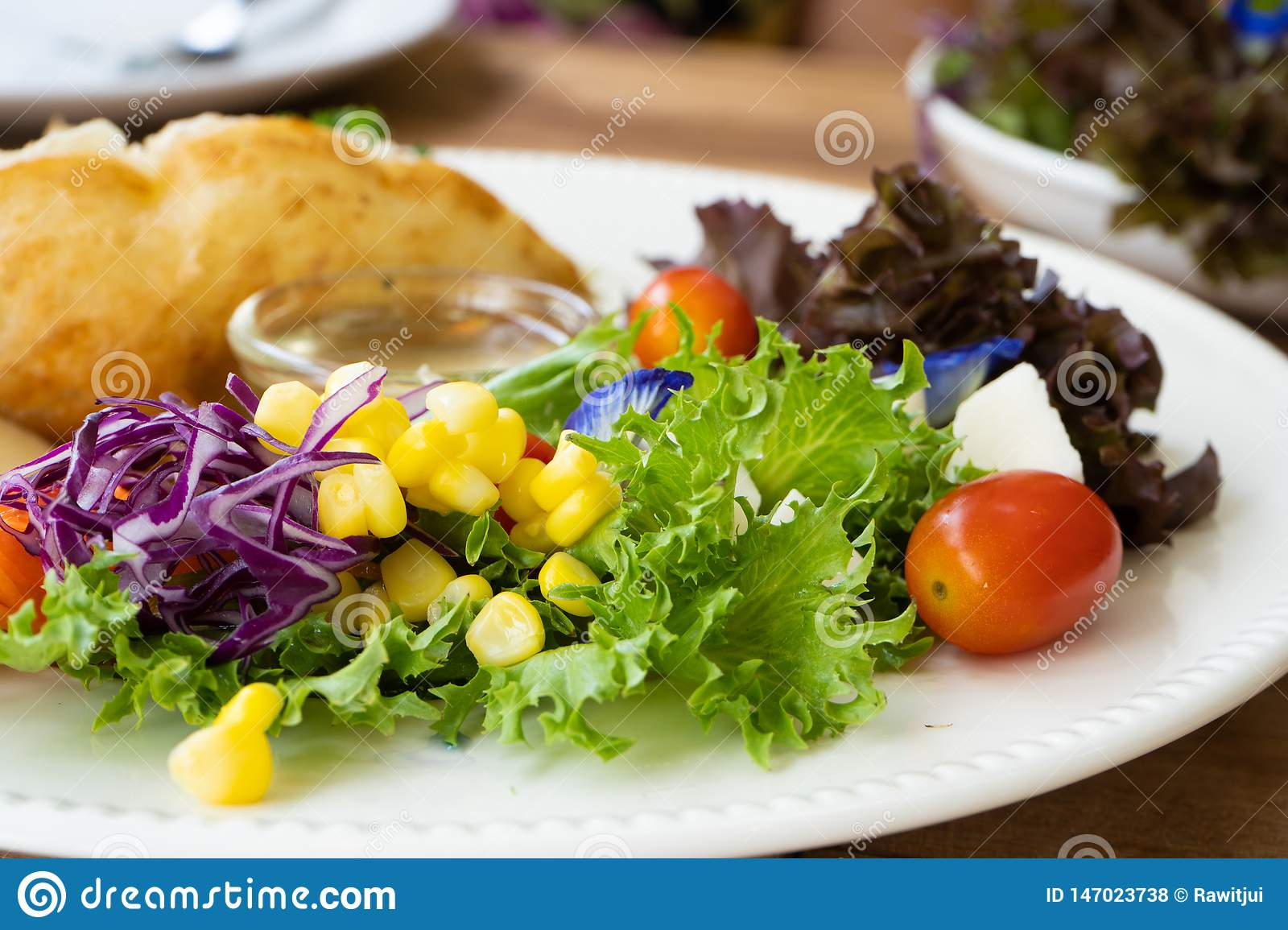 Salad side dish on a white plate