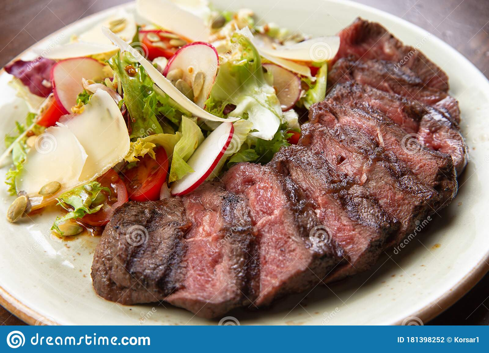 Salad And Sliced Steak In A Plate Stock Photo Image Of Plate Salad 181398252
