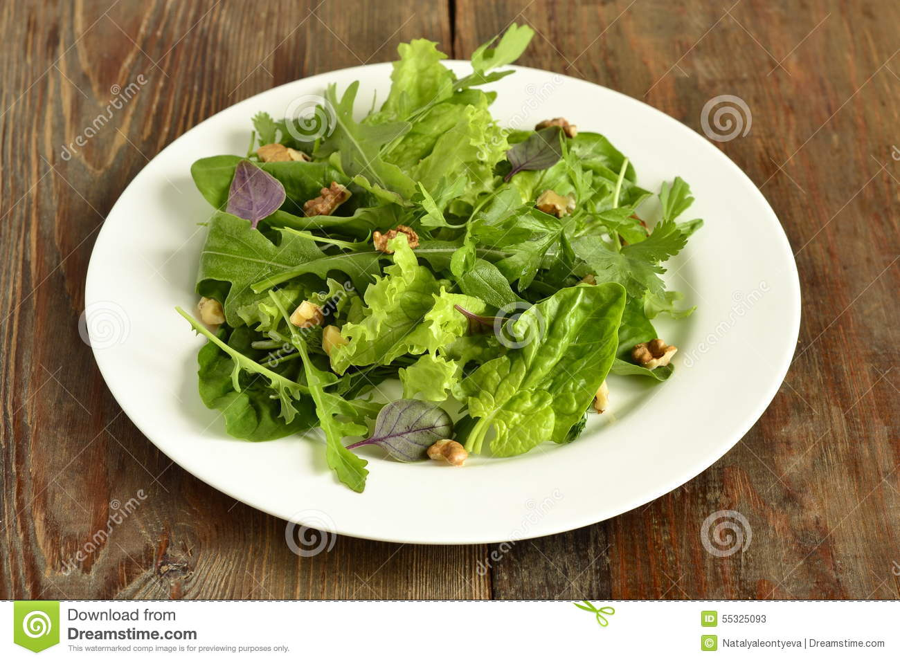 Salad With Spinach, Arugula, Lettuce, Herbs And Nuts Stock ...