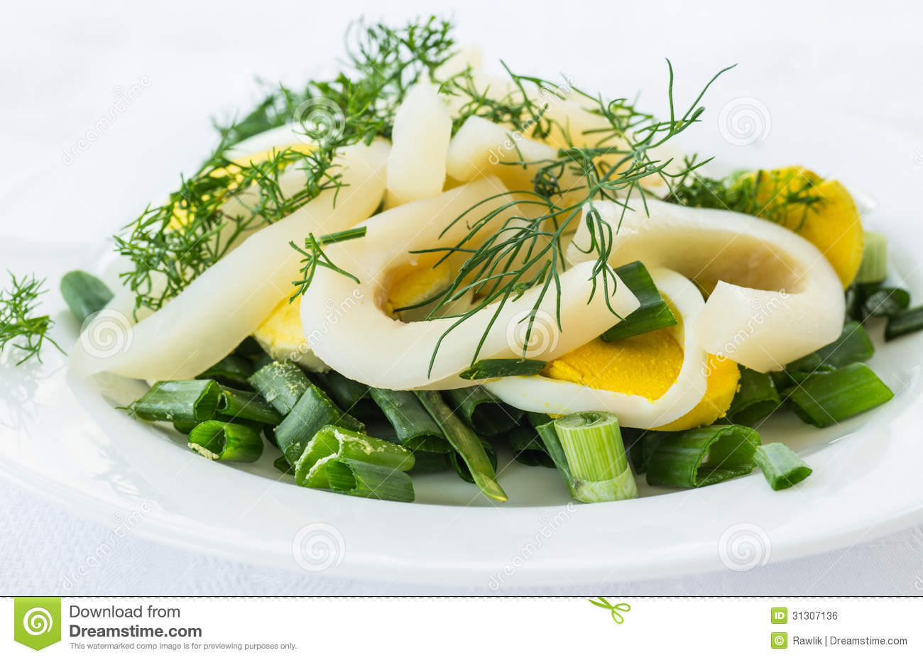 Royalty Free Stock Image: Salad with squid and eggs