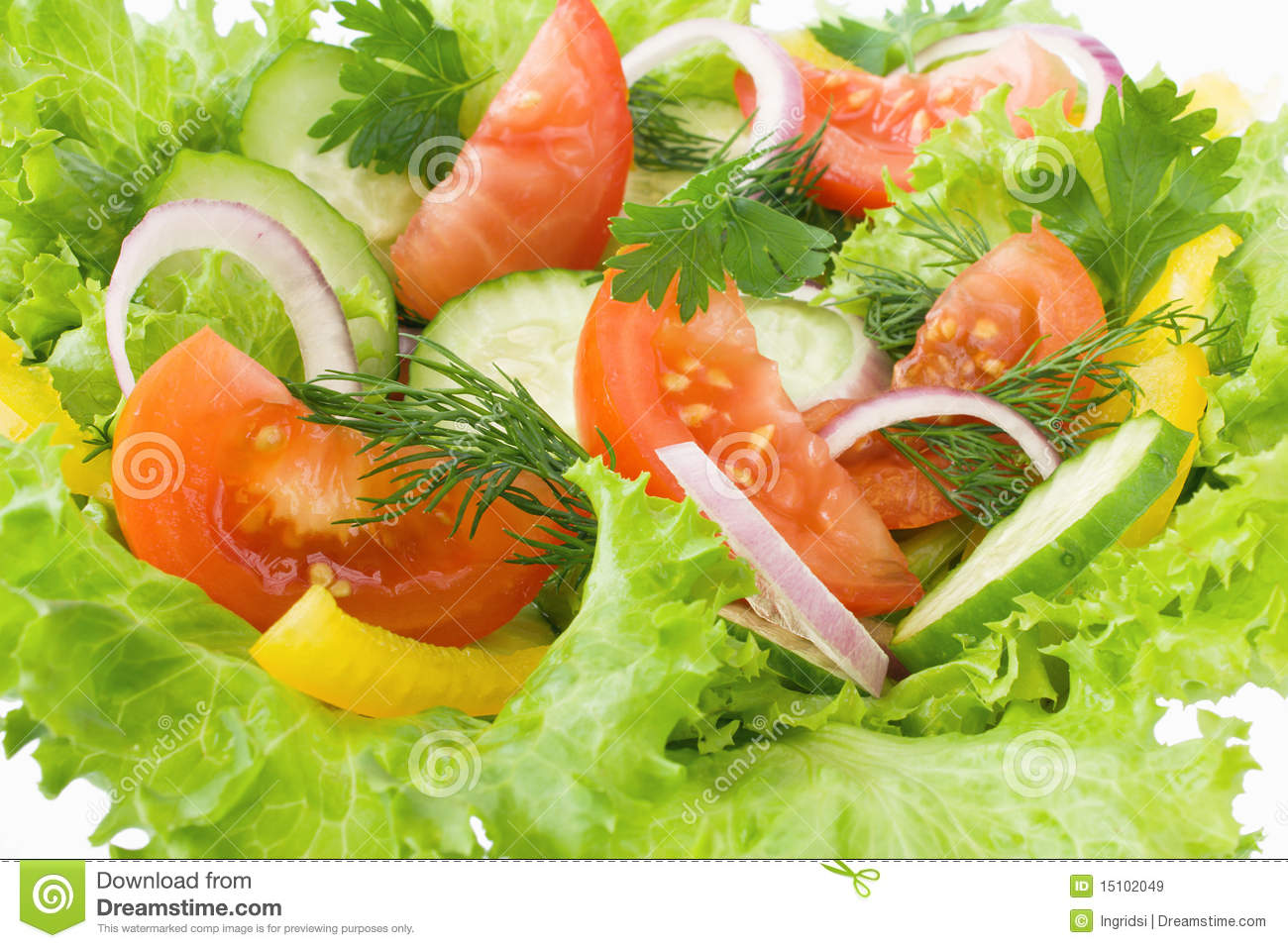 Salad From Tomato Cucumber And Lettuce Royalty Free Stock