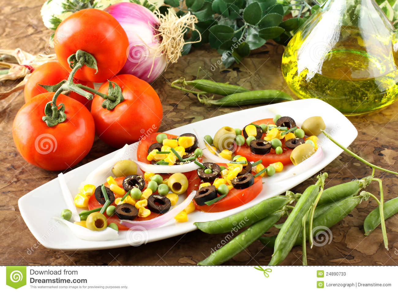 Salad Of Tomato, Olives, Corn And Peas Stock Photos ...