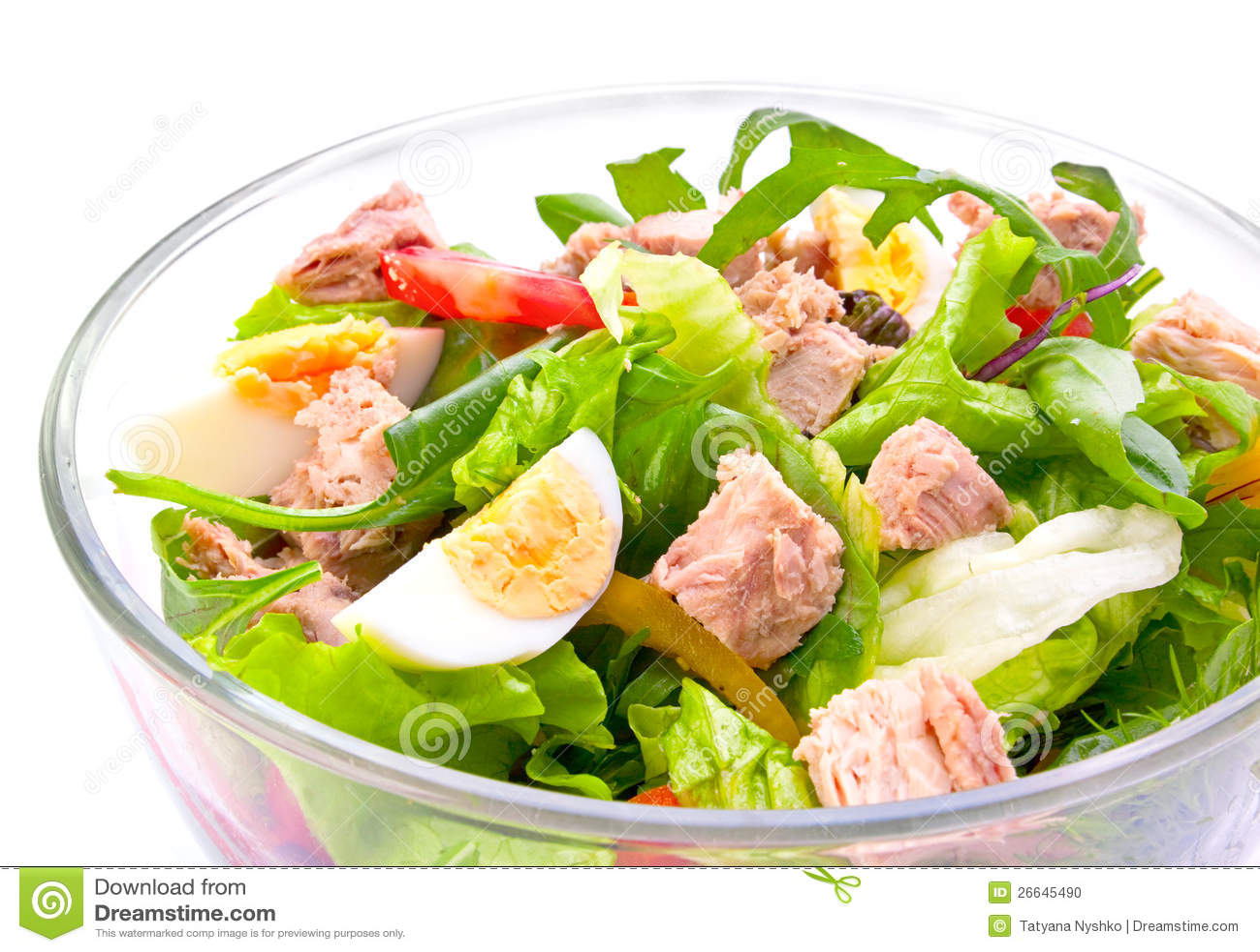 Salad with tuna fish stock photo image 26645490 for How to make tuna fish with eggs