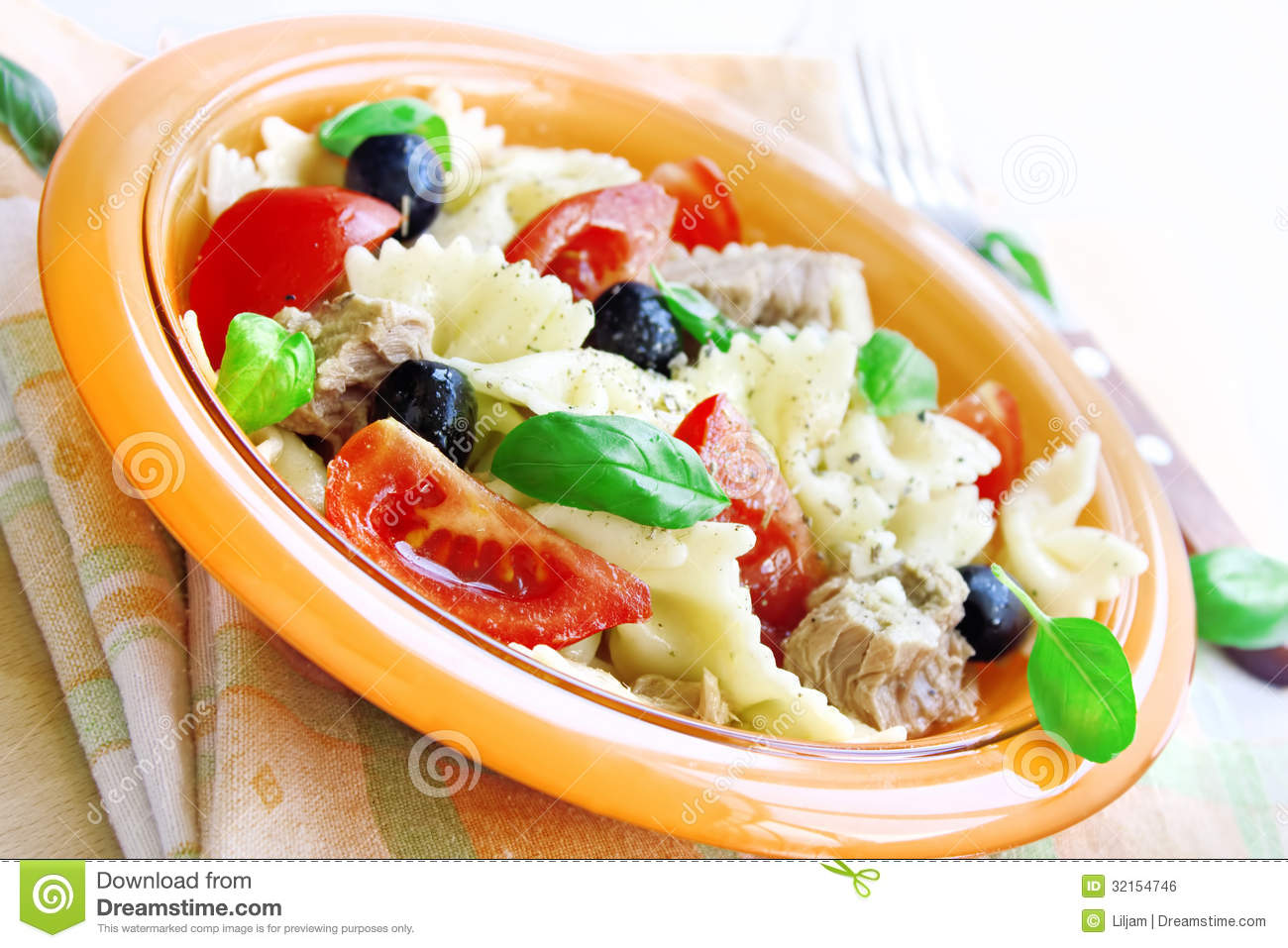 Salad With Tuna Pasta And Tomatoes Royalty Free Stock Image Image 32154746