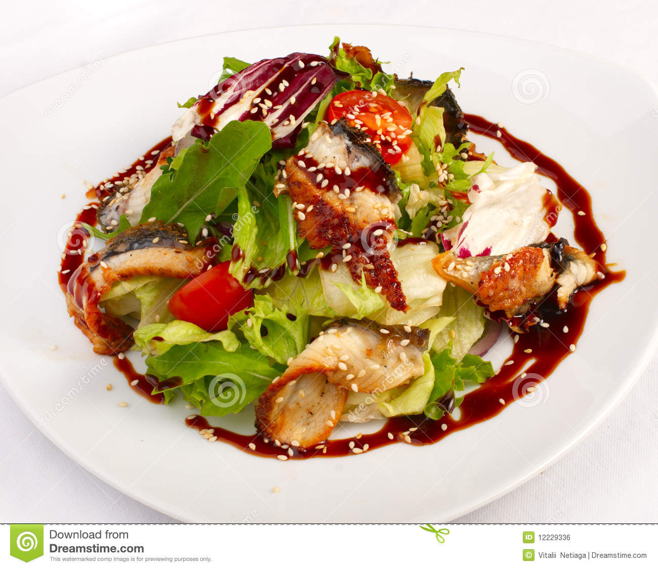 Royalty Free Stock Image: Salad with vegetables and fish