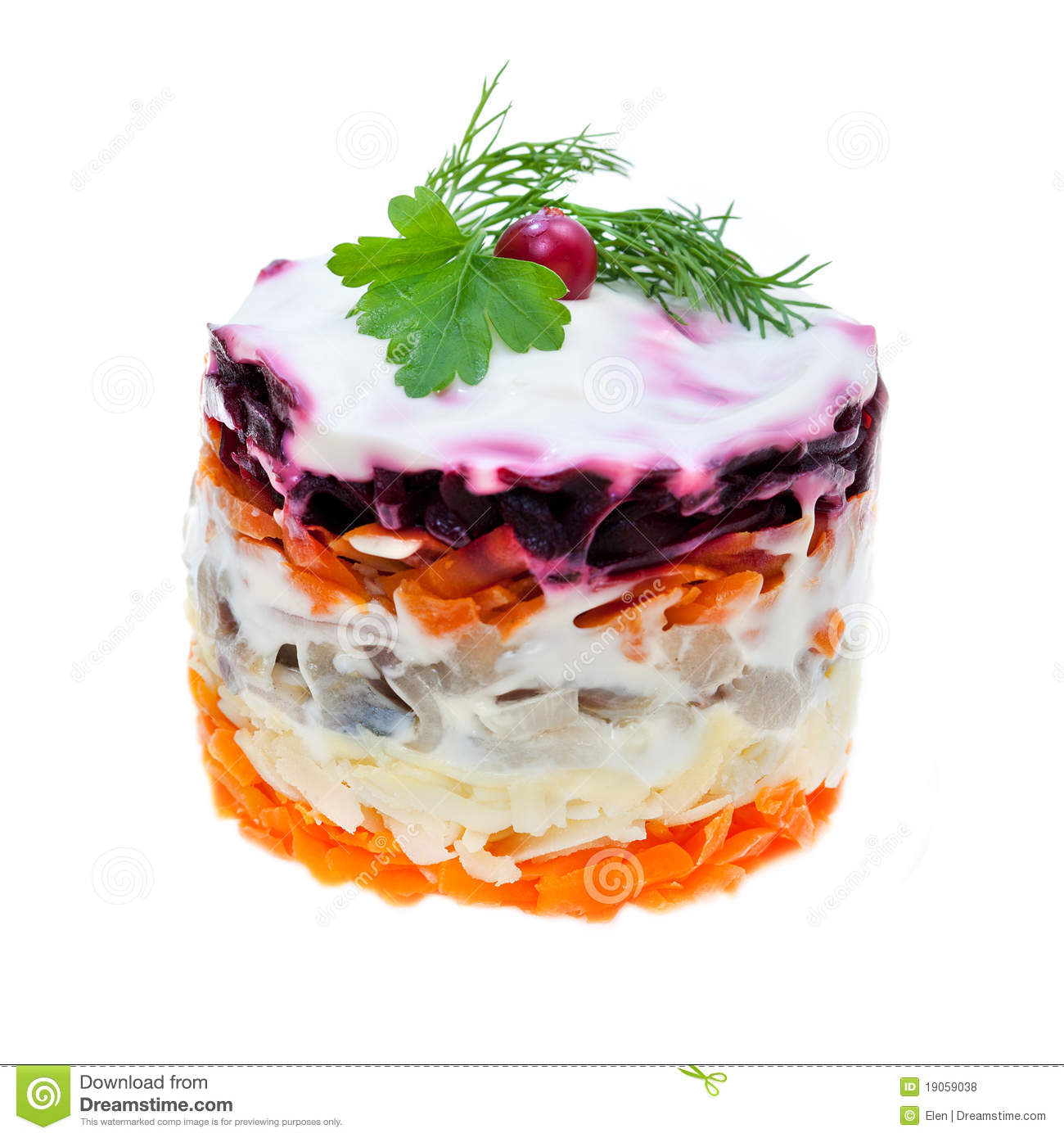 Russian traditional salad of vegetables and fish herring for snack ...