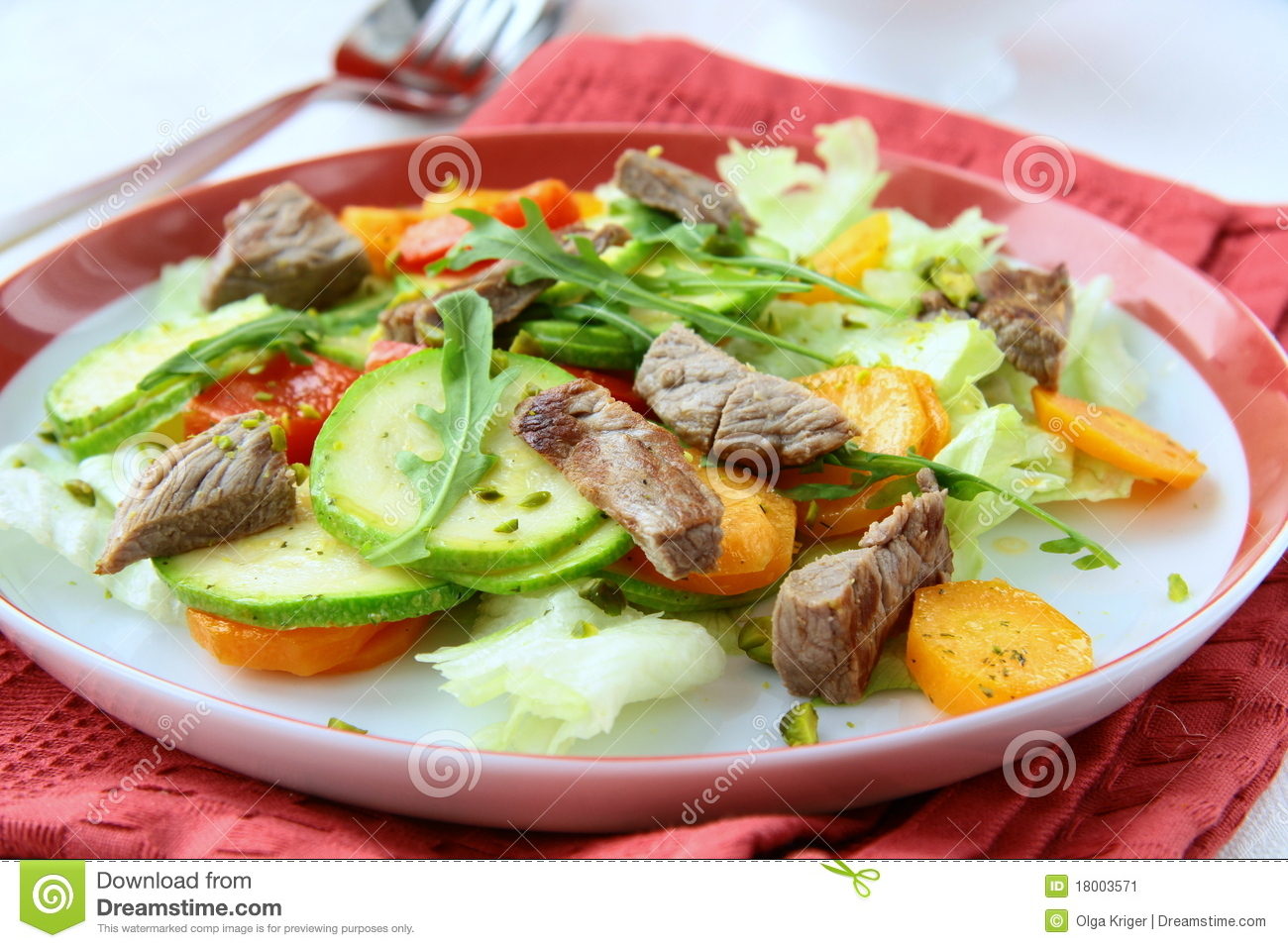 salad with vegetables and meat grilled stock image 18003571