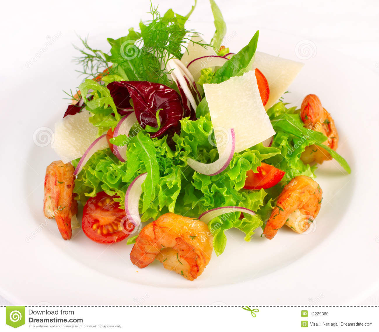 Stock Photo: Salad with vegetables and shrimp