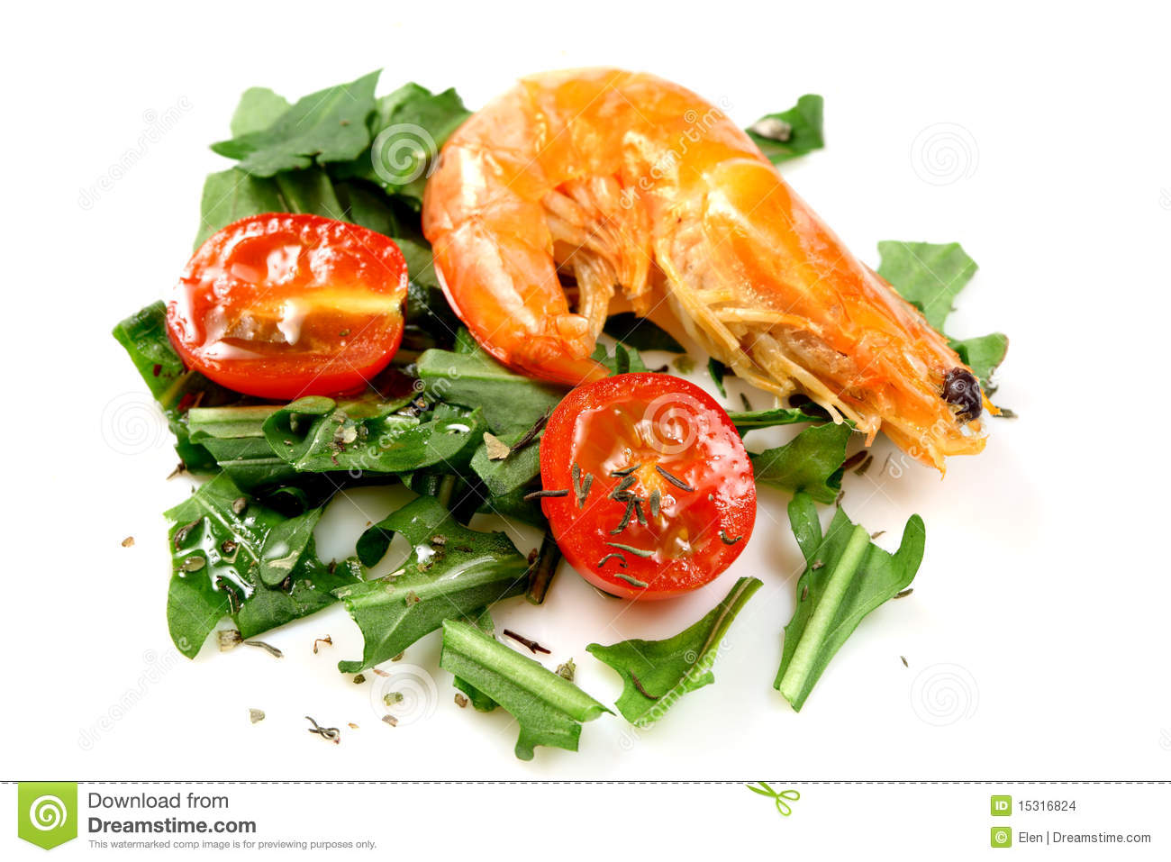 Salad of vegetables tomatos cherry with shrimp.