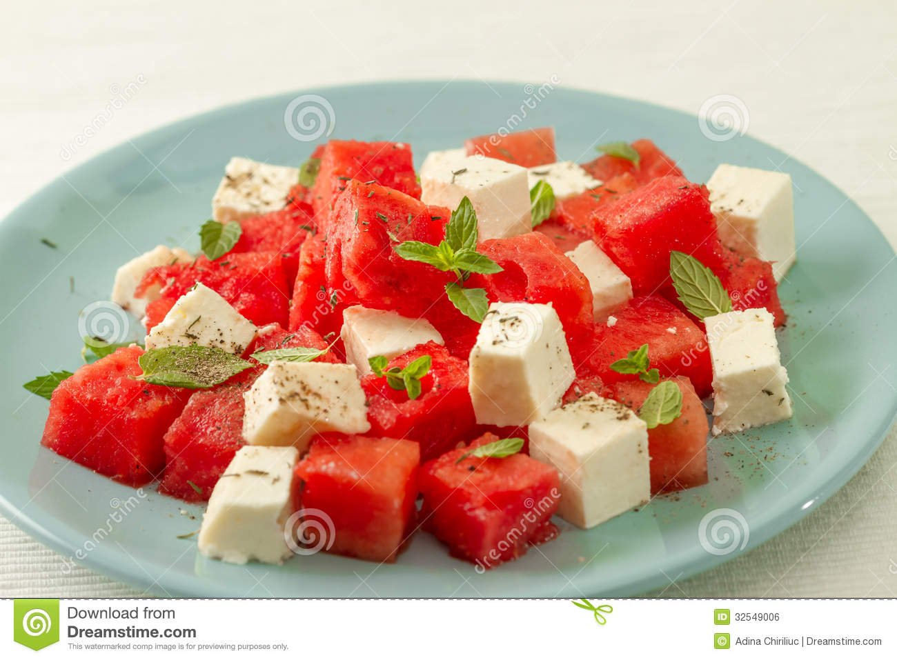 Salad With Watermelon And Feta Cheese Royalty Free Stock Image - Image ...