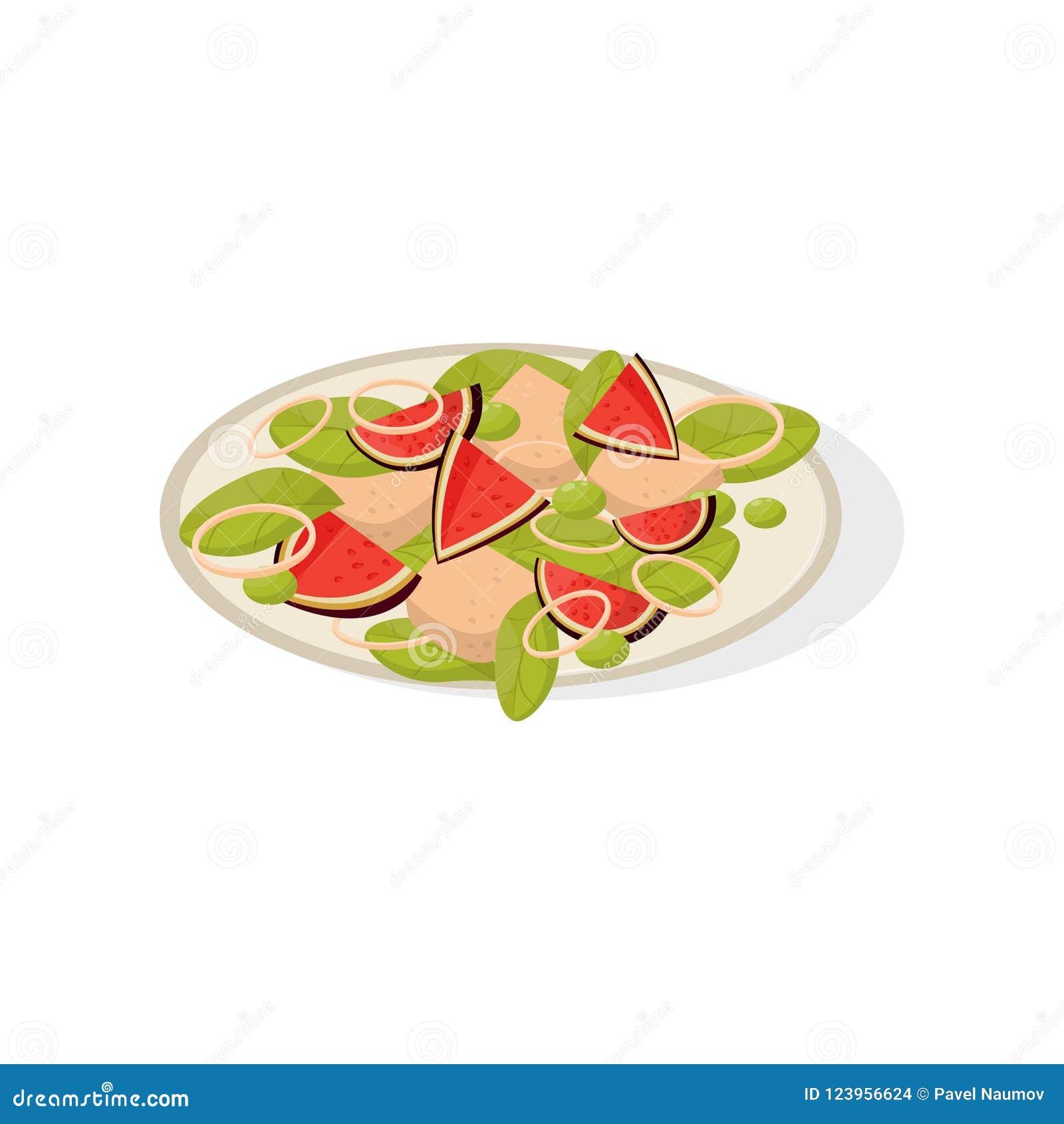 A salada com figo frutifica em uma ilustração do vetor da placa em um fundo branco