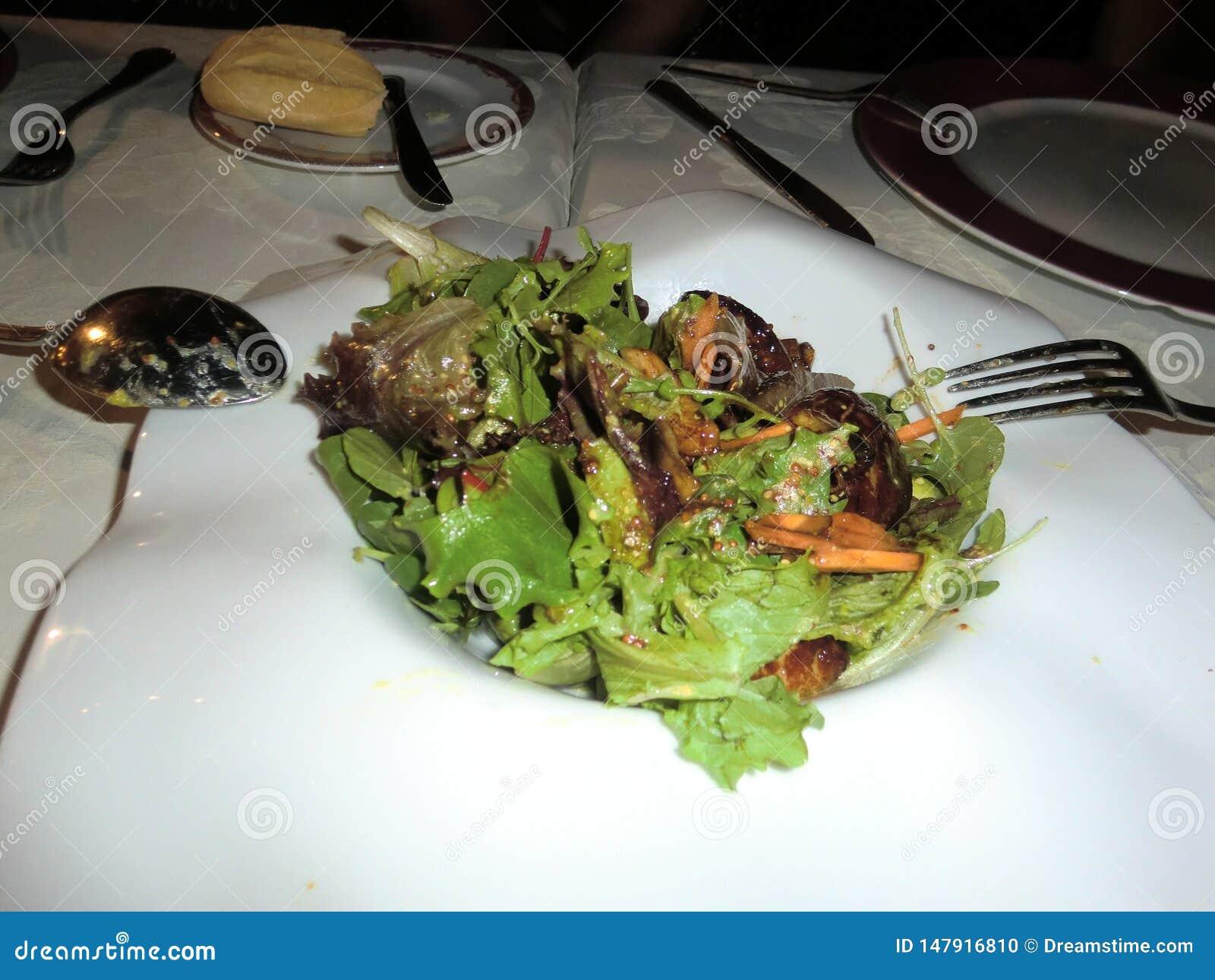 Salada com os tiros macios da alface com riscos da cenoura