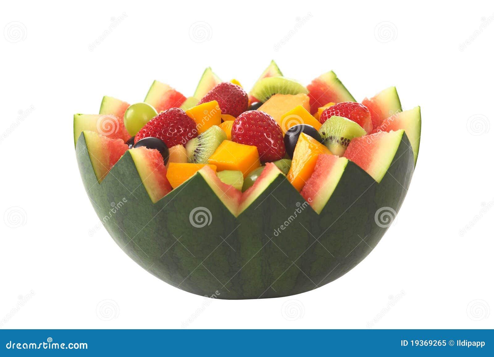 Salada da fruta na bacia do melão