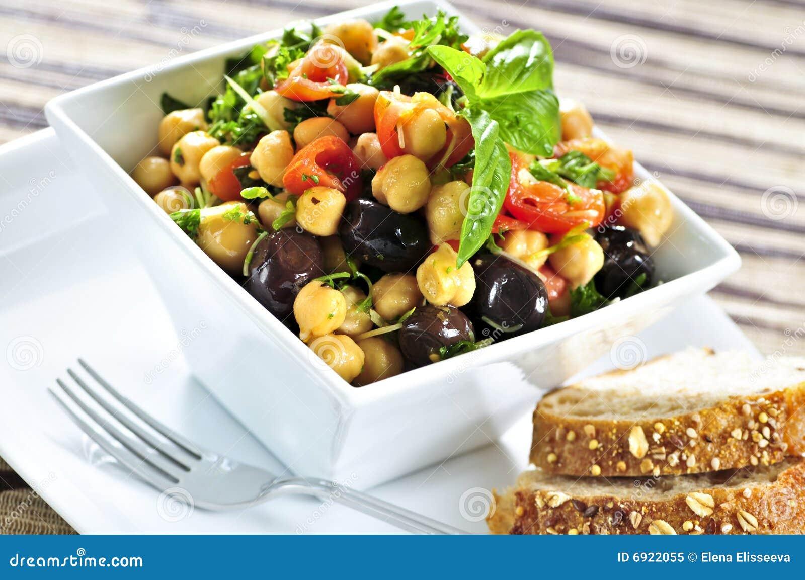Salada do grão-de-bico do vegetariano