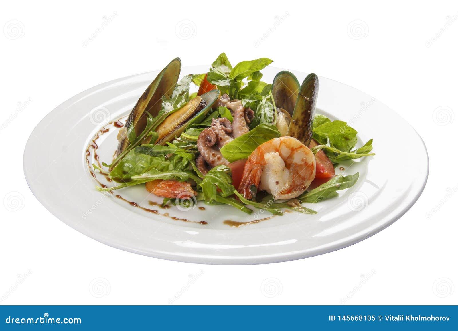 Salada do marisco Um prato espanhol tradicional
