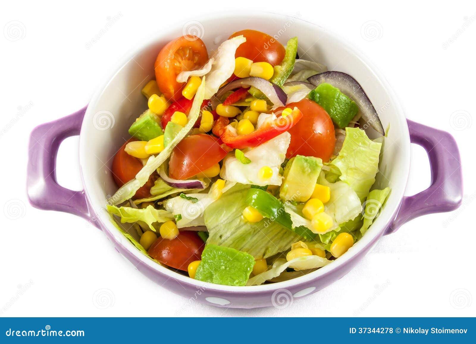 Salada dos tomates de cereja e da alface de iceberg