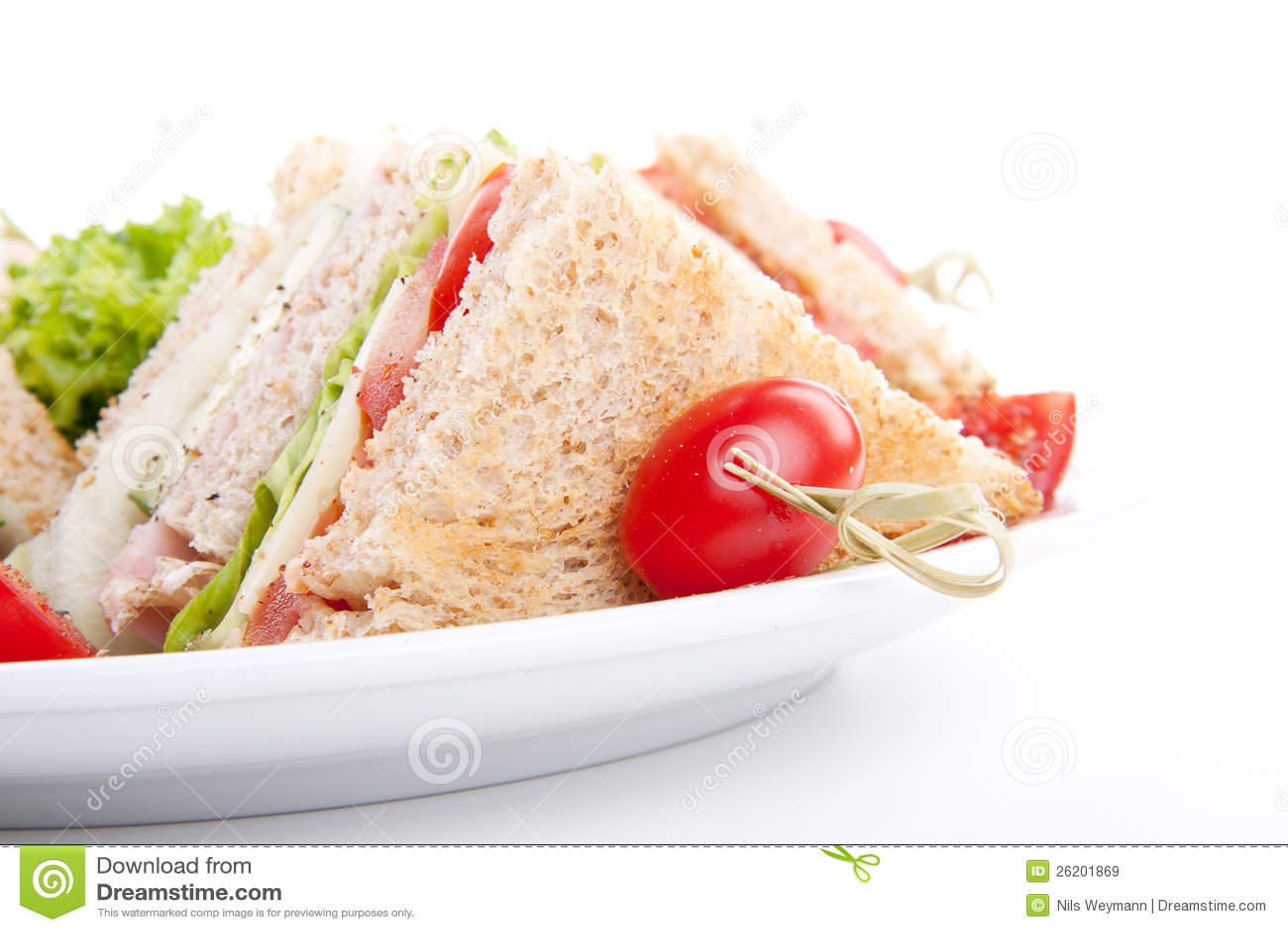 Salada e brinde saborosos frescos do sanduíche de clube