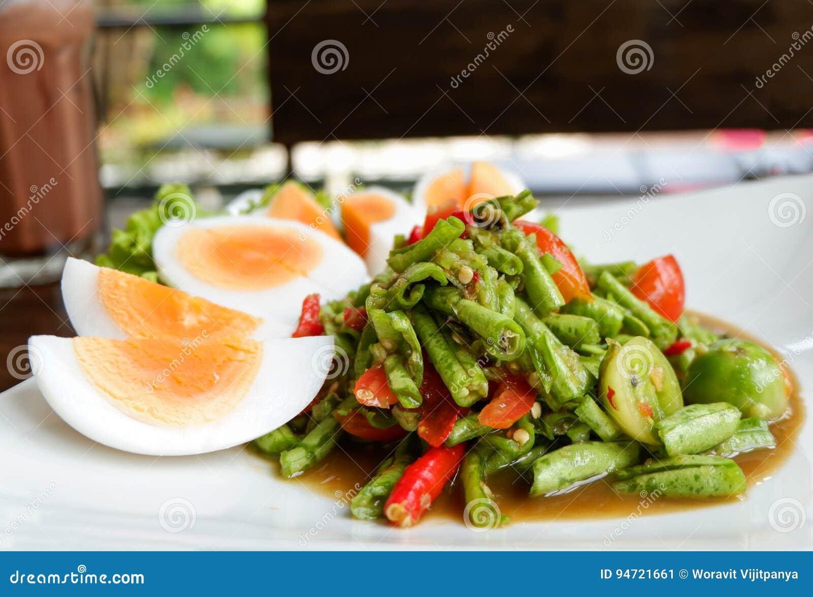 Salada longa do feijão picante