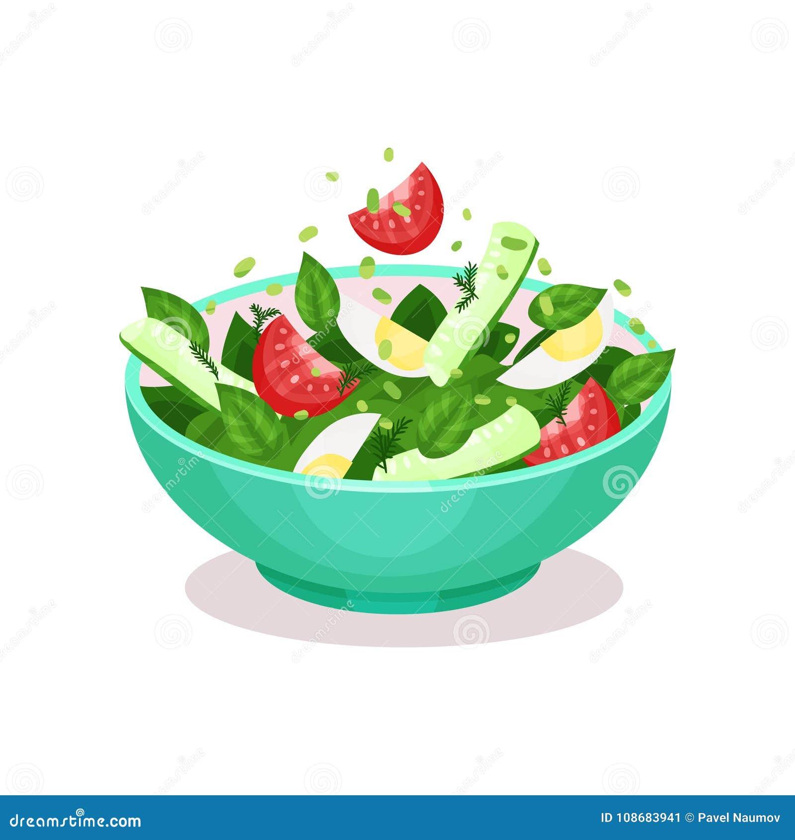 A salada vegetal com conceito saudável comer do ovo, do tomate, do cucmber e dos espinafres vector a ilustração
