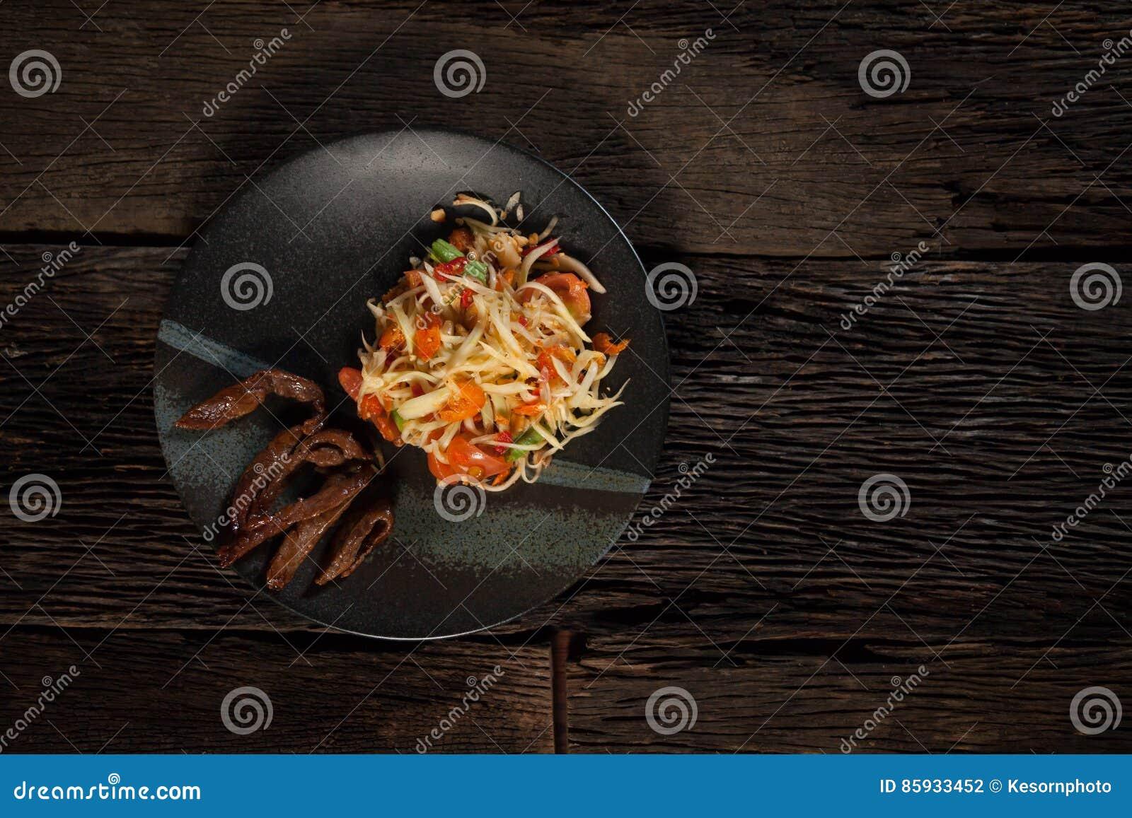 Salada verde da papaia