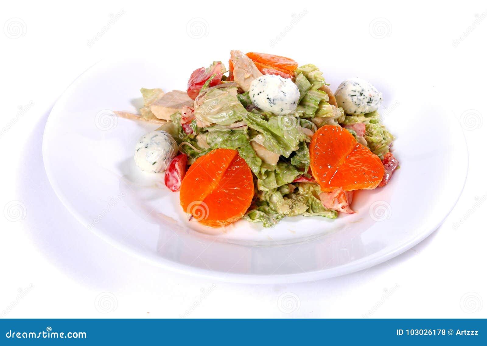 Salade de dinde, de fromage de chou de napa et blanc et de mandarines